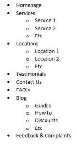 Brisbane Web Design Example Site Structure
