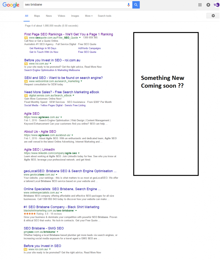 Google right Hand AdWords Gone